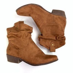 JustFab Faux Suede Ankle Heeled Boots Brown